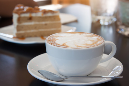 Coffee, cappuccino and cake.