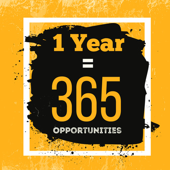 One Year is 365 Opportunities. Inspiring Motivation Quote about Possibilities. Vector Typography Concept On Grunge Background